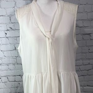 ELLE Sheer Tie Neck Sleeveless Top